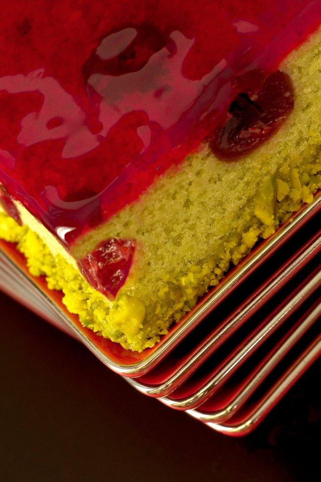 Gâteau de voyage pistache et Griottines®