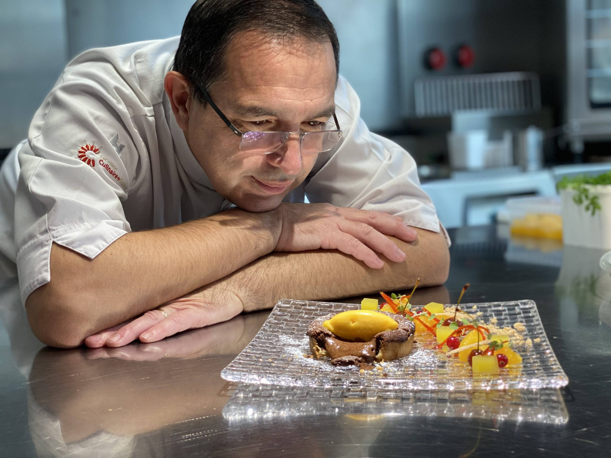 Tarte chaude chocolat et orange confite, oranges en folie et sa gelée «Dom Pacello»